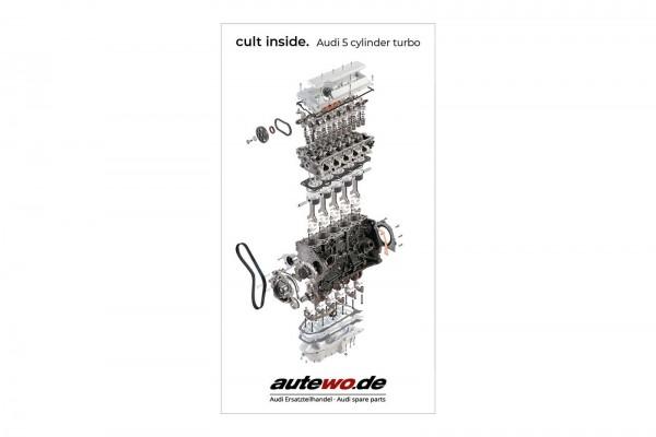 Aufkleber 40 x 73 mm Schnittmodell Audi 5 Zylinder 20V Turbo Motor