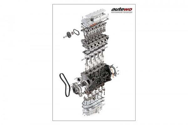 Leinwand 40 x 60cm Schnittmodell Audi 5 Zylinder 20V Turbo Motor mit Rahmen