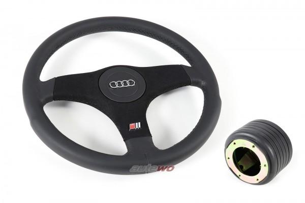 NEU 3-Speichen-Sportlenkrad + Nabe für Audi 80/90/Coupe/Cabrio/100/200/V8