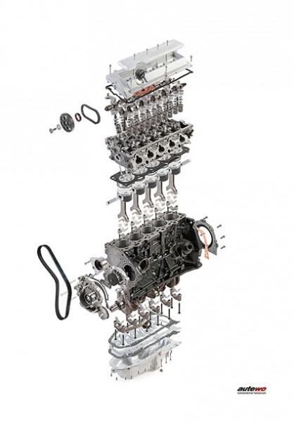 Leinwand 60 x 90cm Schnittmodell Audi 5 Zylinder 20V Turbo Motor mit Rahmen