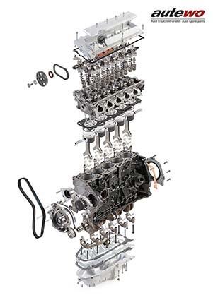 autewo-Poster DIN A0 Schnittzeichnung Audi 2.2l 5 Zylinder 20V Turbo Motor ADU