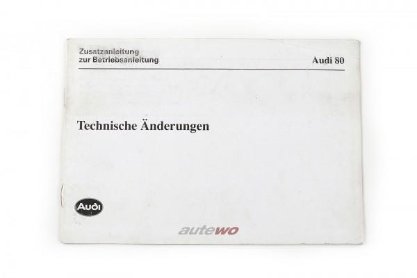 Audi 80 Typ 89 Zusatzanleitung, technische Änderungen, deutsch Ausgabe 1.90