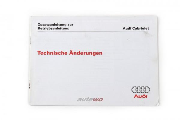 Audi Cabriolet Typ 89 Zusatzanleitung, technische Änderungen Ausgabe 1.97