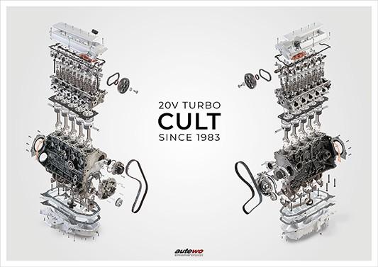 Poster DIN A1 Audi 5 Zylinder 20V Turbo Cult Motor Schnittzeichnung