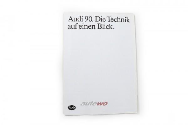 Audi 90 Typ 89 Übersichtsblatt Technik inkl. Preisliste Ausgabe 1/1988