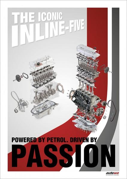 Poster DIN A2 Audi 5 Zylinder 20V Turbo Passion Motor Schnittzeichnung