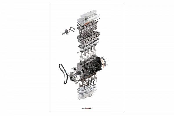 Postkarte Schnittmodell Audi 5 Zylinder 20V Turbo Motor