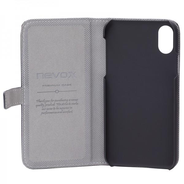 Nevox iPhone XS / X Booktasche, schwarz-grau (1495) NEU & OVP