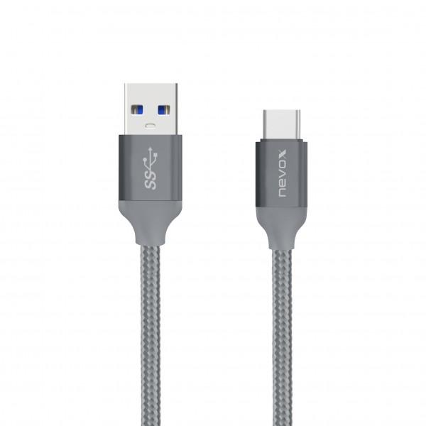 Nevox Type C USB zu USB 3.0 Kabel - 1 m - Silbergrau (TC-1457) Neuwertig