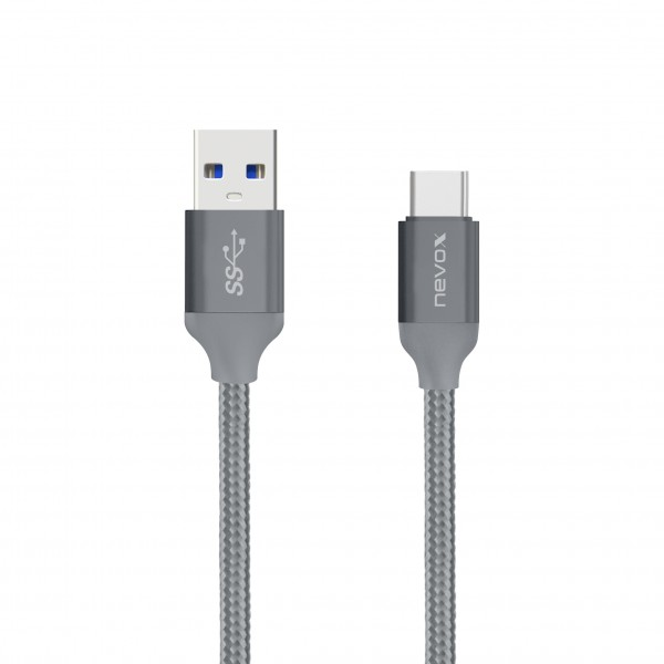 Nevox Type C USB zu USB 3.0 Kabel - 1 m - Silbergrau (TC-1457) NEU & OVP