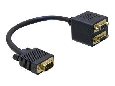 DeLOCK - VGA-Adapter - HD-15 (VGA) (M) bis HD-15 (VGA) (W) - 20 cm