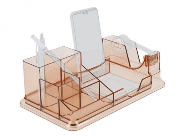 Delock - Schreibtisch-Organizer - Kunststoff - Braun transparent