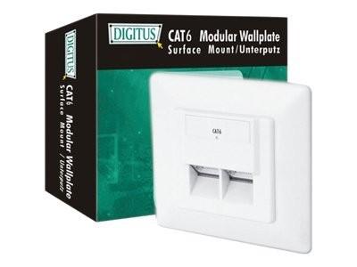 DIGITUS DN-9005-N - Anschlussdose, Unterputz - geeignet für Wandmontage - RJ-45 X 2 - RAL 9010