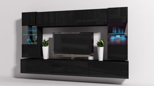 Mediawand Wohnwand 8 tlg - Konzept 27 - Schwarz Hochglanz + LED