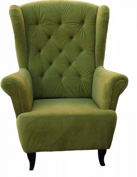 Sessel Ohrensessel Wohnzimmersessel - Orlando - Webstoff Olivengrün