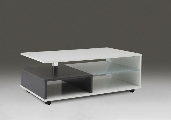 """Couchtisch Beistelltisch Wohnzimmertisch """"Luna II"""" 100x60 cm Weiß Glanz/Anthrazi"""
