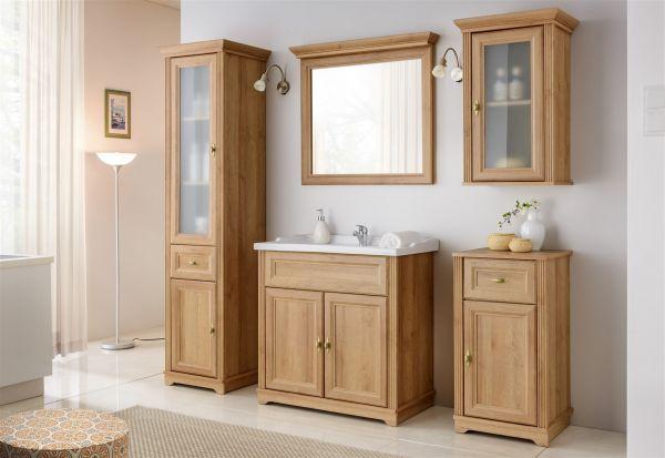 Badmöbel Set 5-tlg Badezimmerset MADERA Eiche inkl.Waschtisch 80 cm