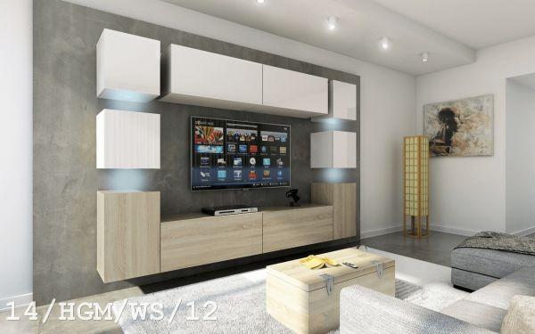 Mediawand Wohnwand 10 tlg - Konzept 40 - Sonoma matt / Weiss Hochglanz