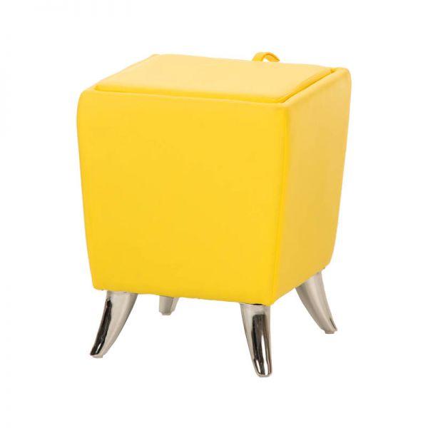 Sitzhocker - Ria - Hocker Schminkhocker Kunstleder Gelb 36x36 cm