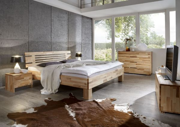 Massivholzbett Schlafzimmerbett - LANDO - Bett Kernbuche 200x200 cm