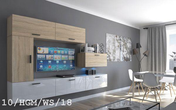 Mediawand Wohnwand 7 tlg - Bedox 3 -Sonoma matt- Weiss HGL Nr.3 +LED