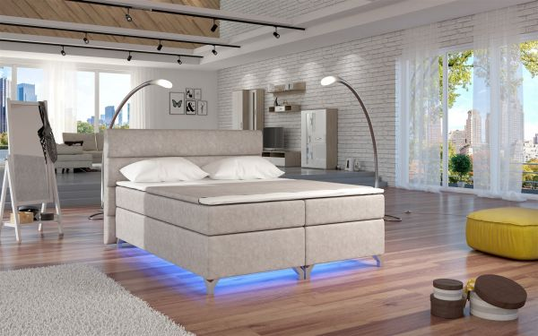 Boxspringbett Schlafzimmerbett NEAPEL Ökoleder Beige 180x200cm