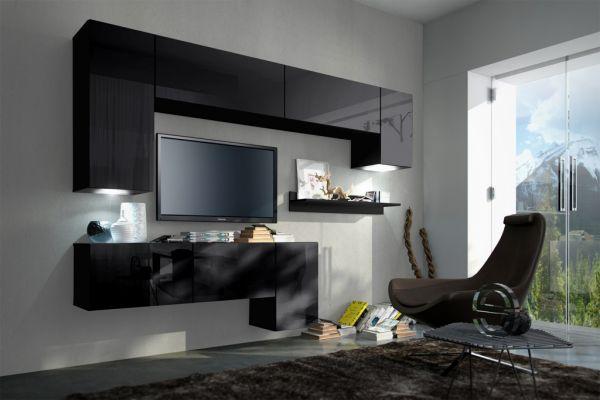Mediawand Wohnwand 8 tlg - Konzept 5 - Schwarz HGL mit LED-Beleuchtung