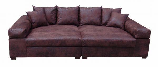 Big Sofa Couchgarnitur Megasofa Riesensofa GULIA -Gobi 4 Vintage-Braun