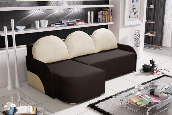 Ecksofa Sofa CANDY mit Schlaffunktion Ottomane Links Dunkelbraun/Beige