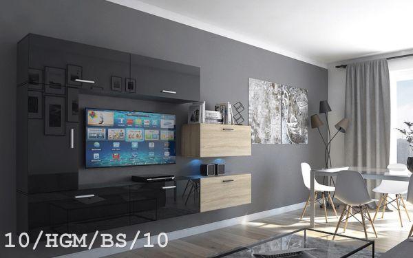 Mediawand Wohnwand 7 tlg - Bedox 3 -Schwarz HG- Sonoma matt Nr.2 + LED