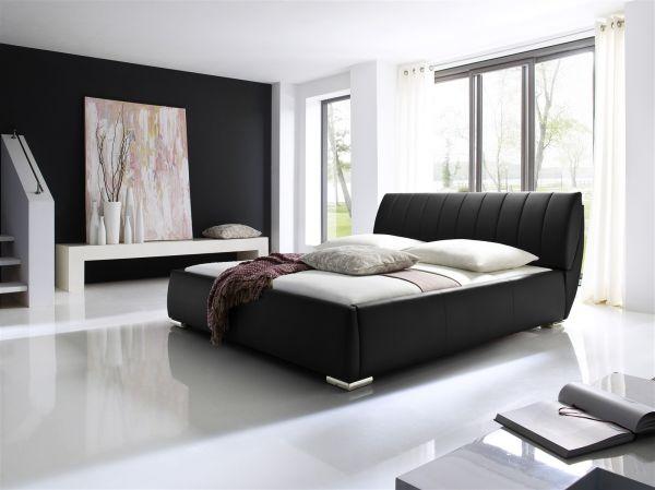Polsterbett Bett -WIEN -180x200cm inkl. Bettkasten+Lattenroste Schwarz