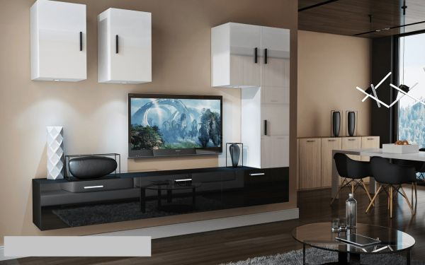 Mediawand Wohnwand 8 tlg - Bedox 4 - Schwarz- Weiss Hochglanz Nr.2+LED