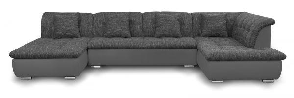 Couchgarnitur NICOLE ohne Schlaffunktion Ottomane Links Grau/Schwarz