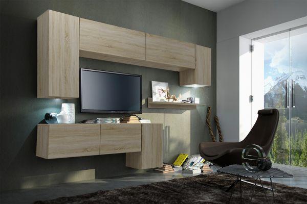 mediawand wohnwand 8 tlg konzept 5 sonoma matt mit led beleuchtung fun m bel. Black Bedroom Furniture Sets. Home Design Ideas