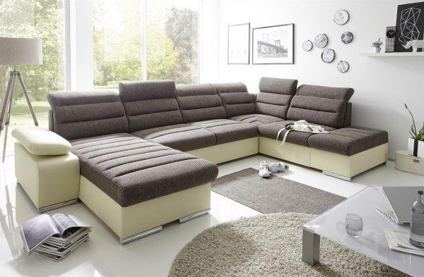 Couchgarnitur PASCARA U-Form mit Schlaffunktion-Creme /Ottomane Links
