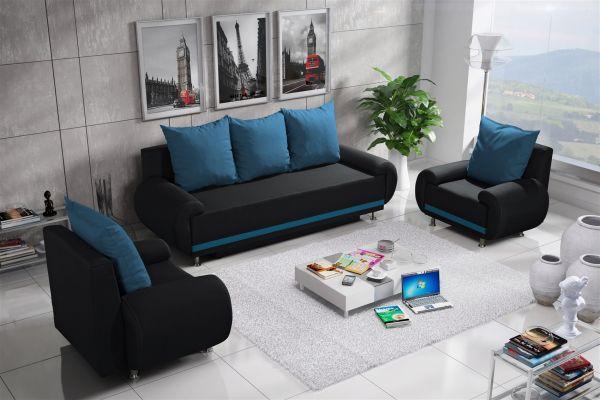 Sofa Set MIKA 3-1-1 Sofagarnitur in Polyesterstoff Anthrazit/ Hellblau