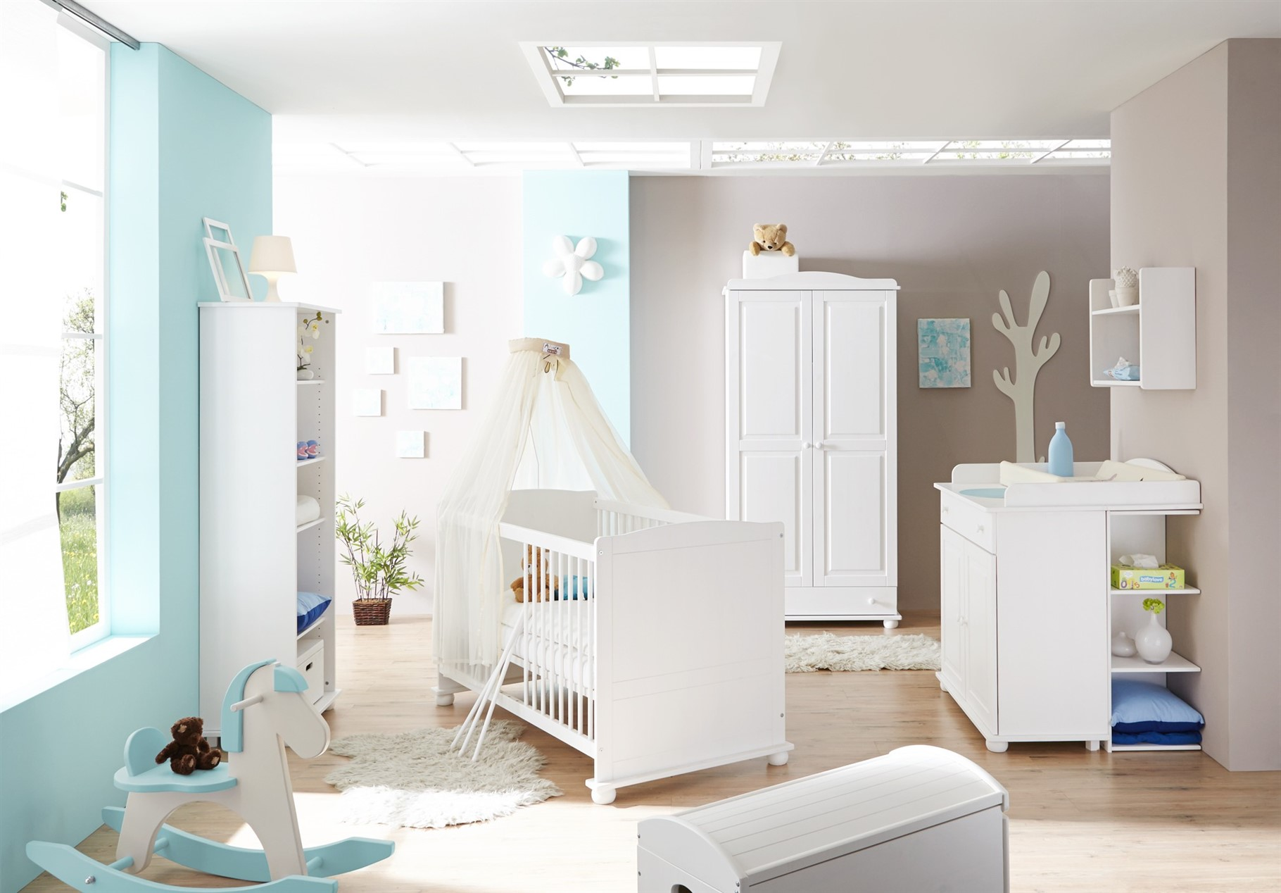 Babyzimmer Set NIKLAS in Kiefer Weiss 5 tlg