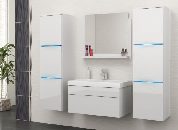 Badmöbel Set 5-Tlg Weiss Hochglanz - Dream- inkl.Waschtisch inkl.LED