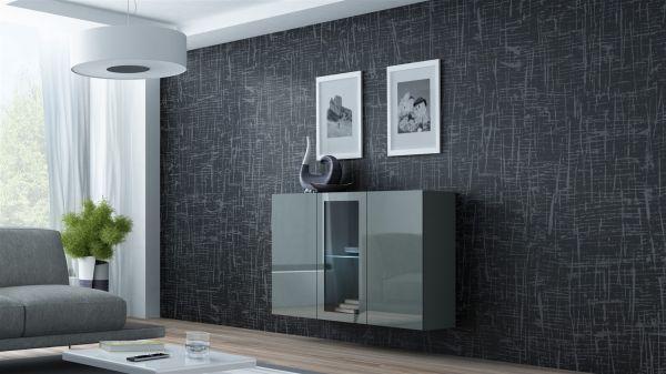 """Sideboard Hängesideboard """"LUGO"""" 120x38x90 cm Grau Hochglanz inkl. LED"""