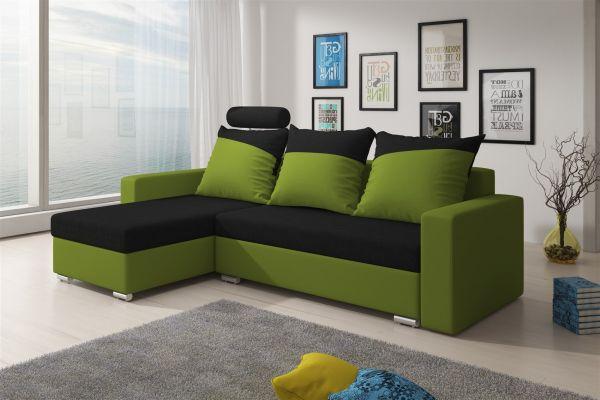 Ecksofa Sofa NORA mit Schlaffunktion Lim..grün/Schwarz Ottomane Links