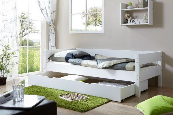 Tagesbett Bett Roksi Buche Massiv Weiss 90x200 Cm Inkl Schubkasten Fun M Bel