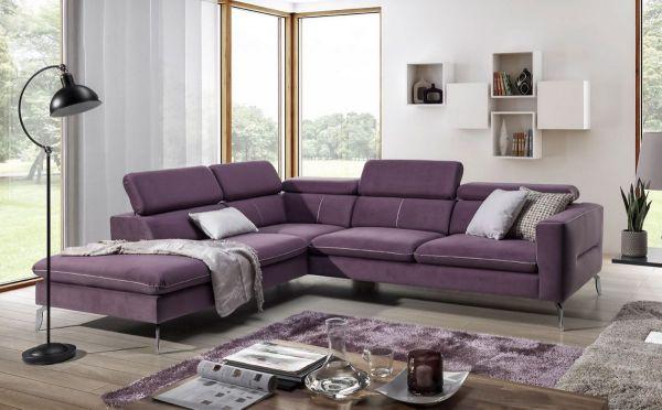 Ecksofa Sofa REZA Polyesterstoff Violett Ottomane Links