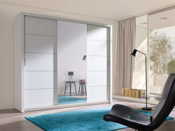 Schiebetürenschrank Schrank OSLO Weiss matt + Spiegel 250x215 cm