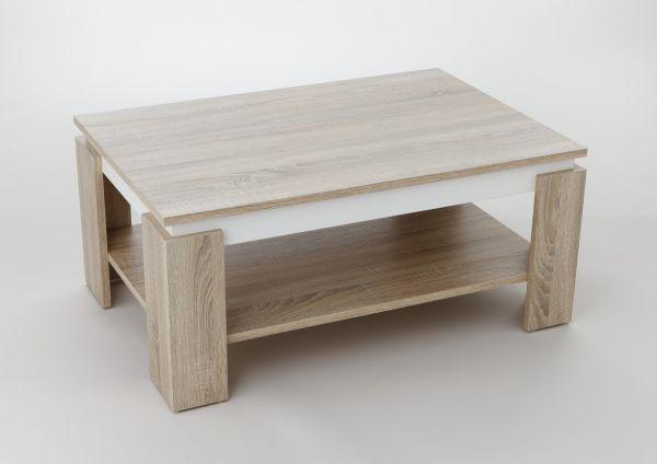 Couchtisch -Timo 2- 90 x 60 cm mit Ablageboden Sonoma Eiche - Weiss
