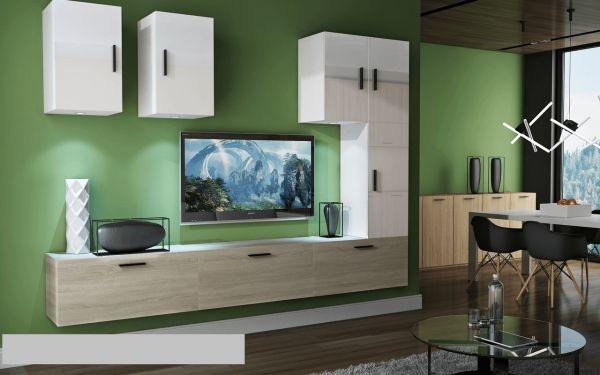 Mediawand Wohnwand 8 tlg - Bedox 4 - Sonoma matt- Weiss HGL Nr.2+LED