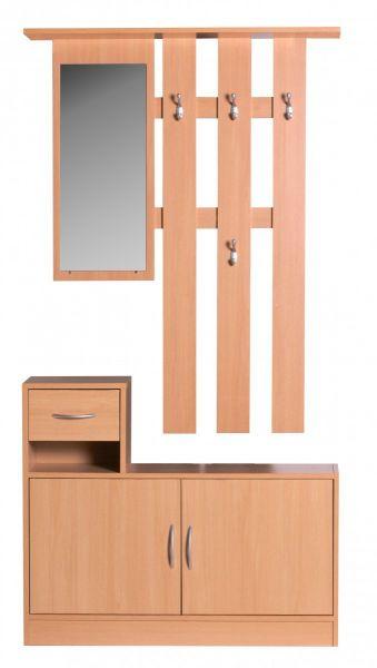 Garderobe JANA Buche 90 cm mit Spiegel und Wandgarderobe