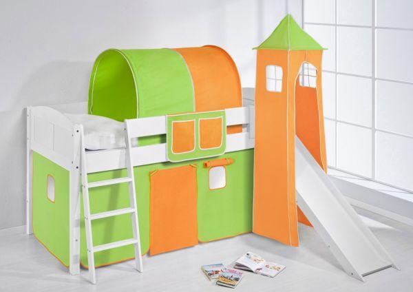 Spielbett mit Rutsche,Turm, Vorhang -LANDI/S -Grün Orange-Kiefer Weiss