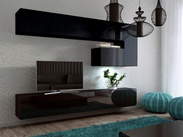 Mediawand Wohnwand 8 tlg -Konzept 15- Schwarz HGL mit LED-Beleuchtung