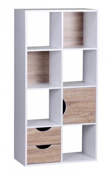 Bücherregal - BENO - mit Schubladen und Tür Weiß Sonoma Eiche