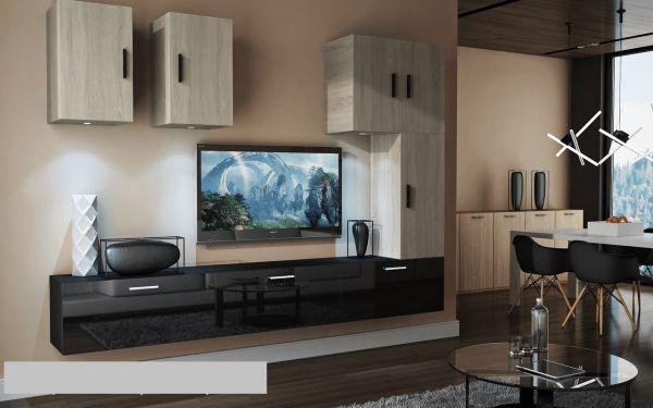 Mediawand Wohnwand 8 tlg - Bedox 4 - Schwarz HGL- Sonoma matt Nr.2+LED